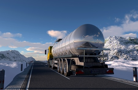 tanker: Truck to transport fuel.