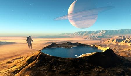 shuttle: Astonavt rond de krater met water. Stockfoto