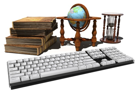 Keyboard, old books and a globe on a white background. Stock Photo - 20123342