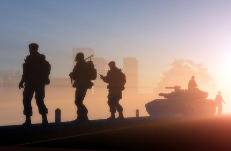 夜明けに対する兵士のグループ。 写真素材