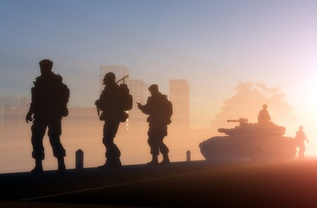 water tank: A group of soldiers against the dawn. Stock Photo
