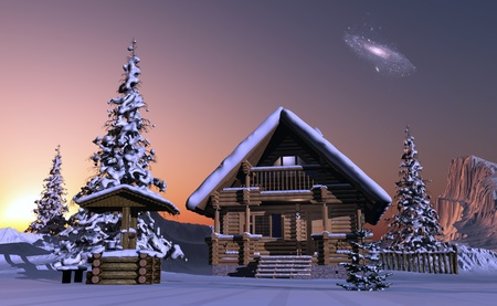 Country house in winter evening photo