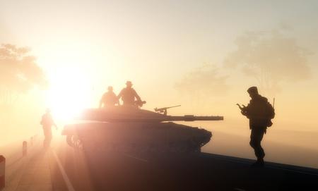 tanque de guerra: Siluetas de los militares en la luz del sol. Foto de archivo