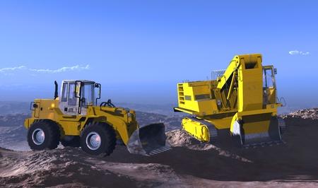 front loader: El grupo de máquinas de construcción en el paisaje.