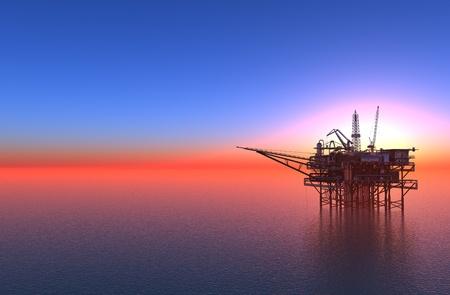 바다에서 석유 생산.