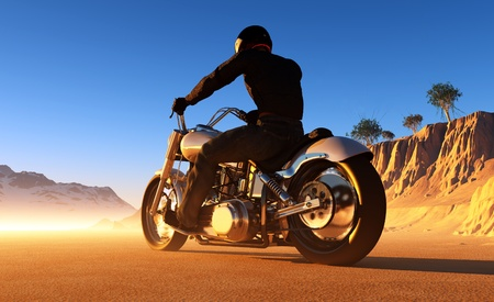 motorbike: Against the landscape of the motorcyclist.