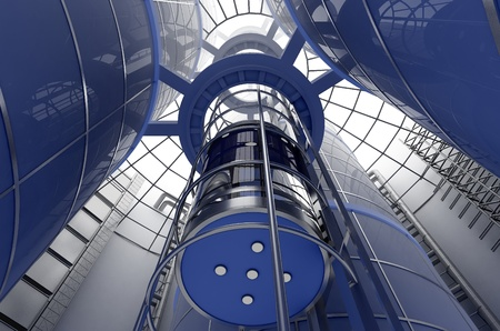 The interior of a modern building with an elevator. photo