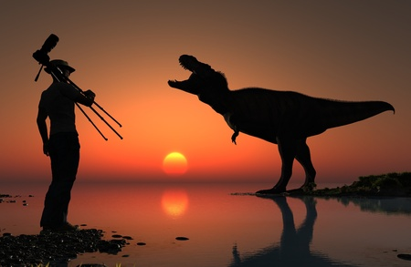 ifestyle: Silhouettes of photographer and dinosaur at sunset.