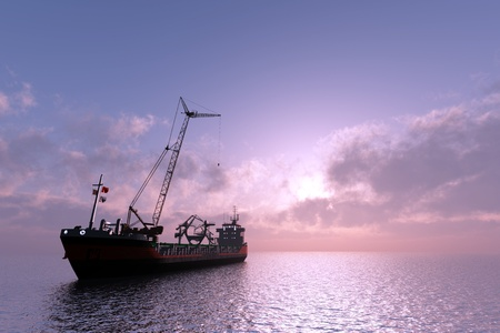 marine industry: Tanker with a crane at sea. Stock Photo