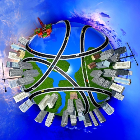 ring road: Model of the globe  in the sky. Stock Photo