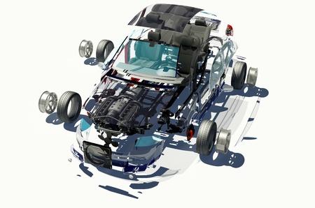 Auto smontata su uno sfondo bianco. Archivio Fotografico - 20128214