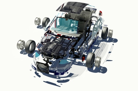 Disassembled car on a white background. photo