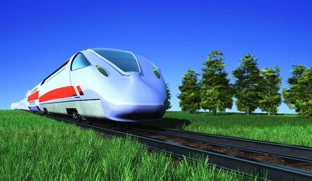 De moderne trein op het groene gras.