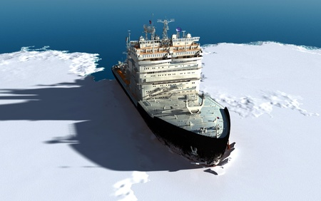 antarctic: Icebreaker ship on the ice in the sea.