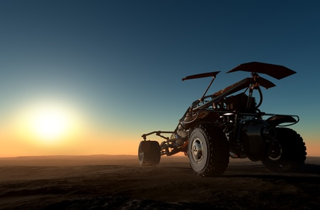 cgi: Cars of the future in the desert.