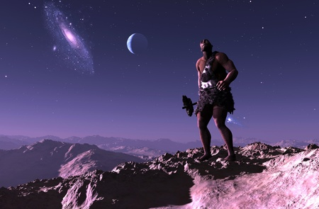 Primitive man is looking at the starry sky.