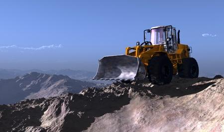 front loader: Excavadora en el fondo del paisaje de montaña.