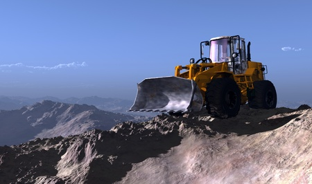wheel loader: Excavator on the background of the mountain landscape.