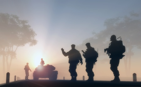 water tanks: A group of soldiers against the dawn. Stock Photo