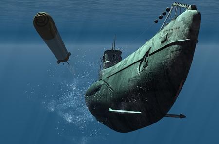 immersion: Submarine under water.