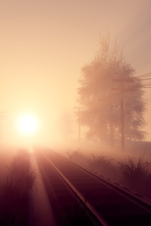 rail route: Railway in the morning sun