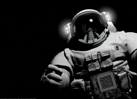 黒の背景に宇宙飛行士。