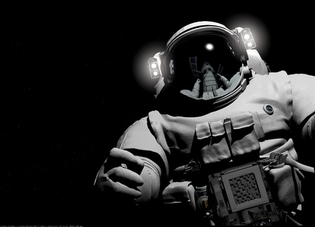 cosmonaut: Astronaut on a black background.