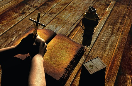 god 3d: Still-life with the crucifixion on a table  Stock Photo