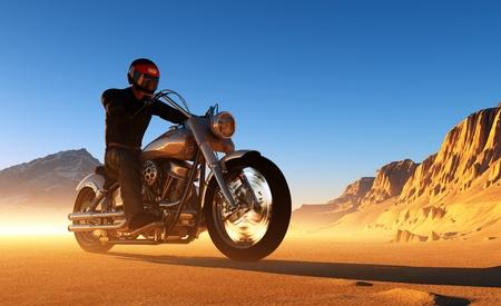 silueta moto: Contra el paisaje del motociclista. Foto de archivo