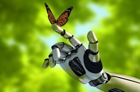 robot: Mechaniczne ramię i motyl. Zdjęcie Seryjne