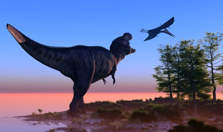 big and small: Giant dinosaur in the background of the colorful sky.