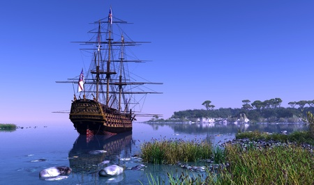 tall ship: Sailboat in the lagoon of the island green. Stock Photo
