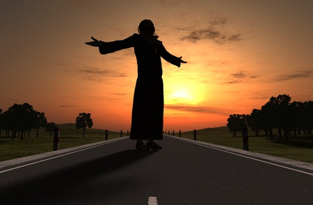 antique jesus: A silhouette of a priest on the Road Stock Photo