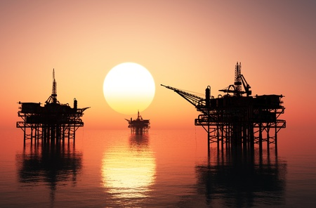 夜の後半での石油掘削装置