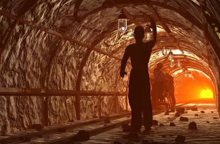 mijnbouw: Silhouet van de werknemers in de mijne Stockfoto