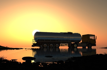 fuel pump: Truck to transport fuel.
