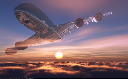 gente aeropuerto: Un avi�n de pasajeros en el cielo