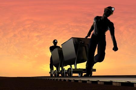 mineros: Dos mineros con un carrito.