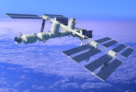 space station: Space station in outer space.