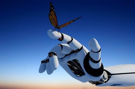 Der mechanische Arm und ein Schmetterling. Standard-Bild - 20128315