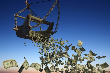 falling money: Banknotes of dollars are flying out of excavator bucket.