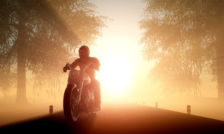 motorcycle: Silhouette of a rider on an orange background.
