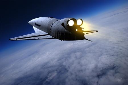 raumschiff: Space transport auf einem Hintergrund des Himmels