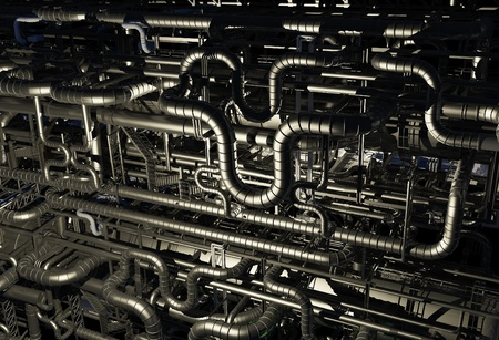 catalytic: A lot of pipes on a dark background. Stock Photo