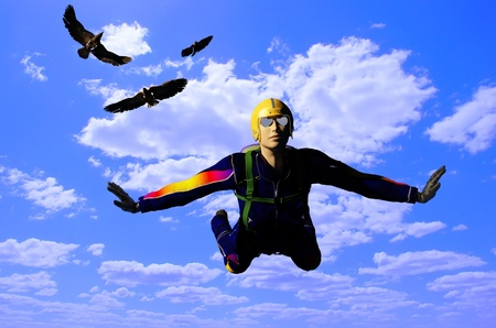 air demonstration: Parashutist and birds in the sky.
