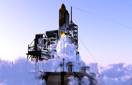 space shuttle: Launch a spacecraft into space. Stock Photo