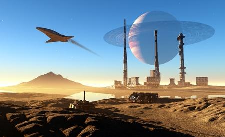 mountainous: Spacecraft over the mountainous terrain of the planet.