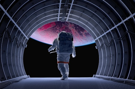 astronaut: Astronaut in the tunnels of the spacecraft.