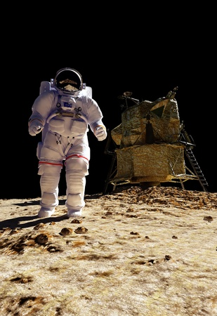 The astronaut  on the background of the planet. photo