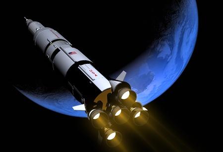 宇宙空間で宇宙船 写真素材